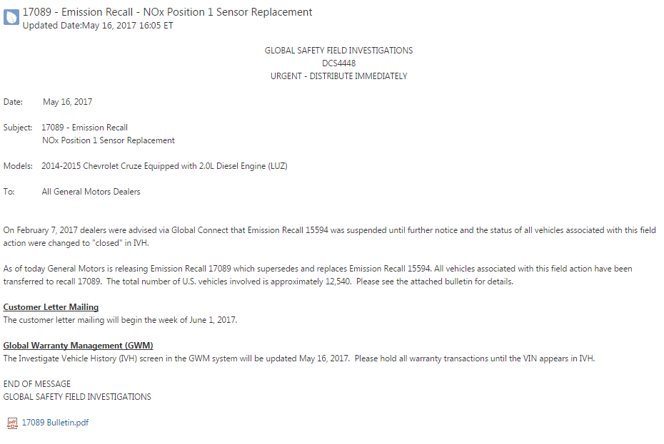 17089 - Emission Recall - NOx Position 1 Sensor Replacement (CTD