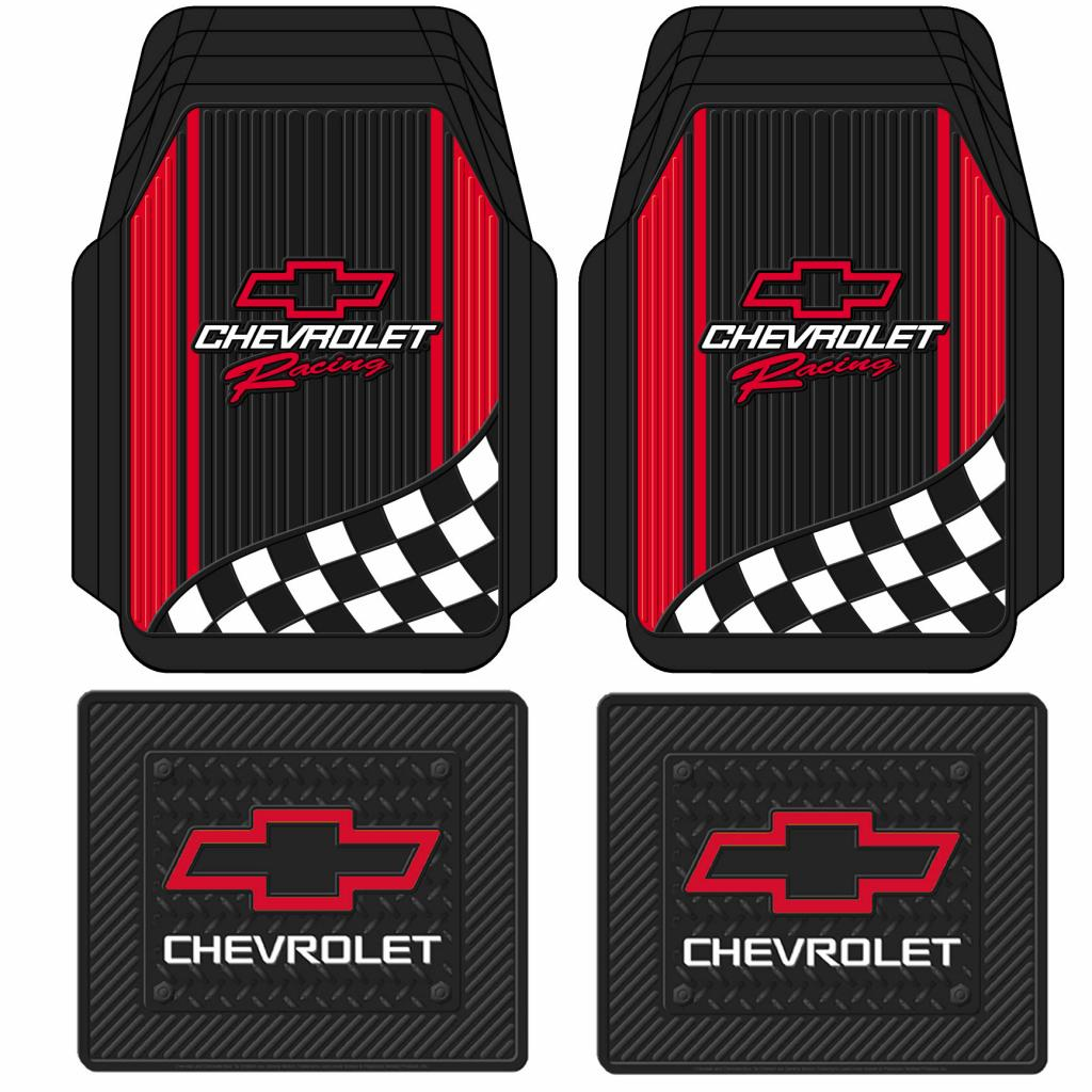 logo rubber black mat with chevy row gold floor plasticolor chevrolet mats