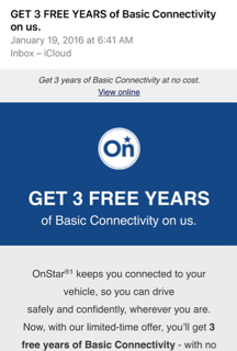 3 years of free basic onstar. Black Bedroom Furniture Sets. Home Design Ideas