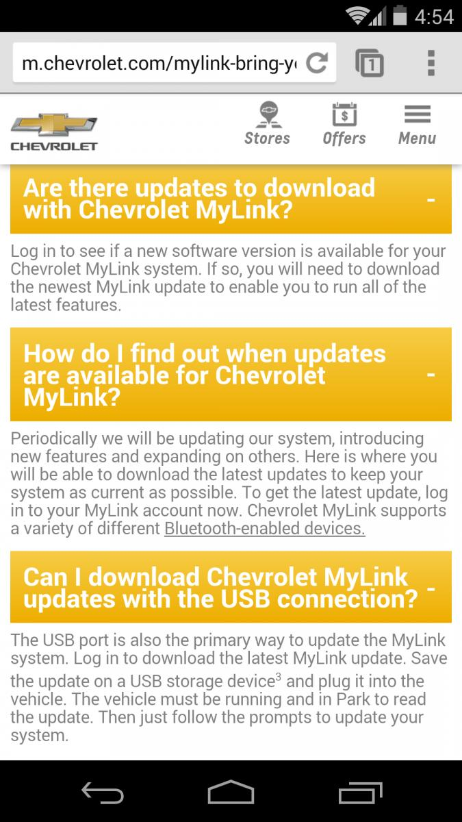Chevy Mylink Software Update >> Mylink Updates Annoying Chat With Chevy Cust Service