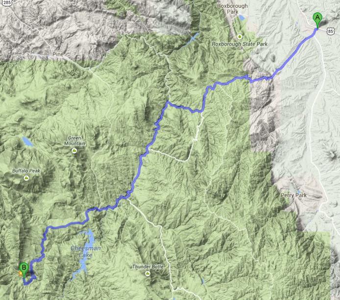 Deckers Colorado Map.Jarre Canyon Sedalia To Deckers Colorado