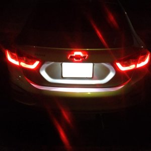 Red Rear Bowtie LED at night.